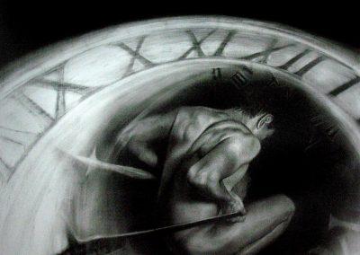 A contratiempo, carbón sobre madera, 50 x 50 cm, 2008