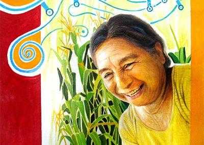 Actitudes 1 (Doña Olivia), óleo sobre madera, 32 x 32 cm, 2007