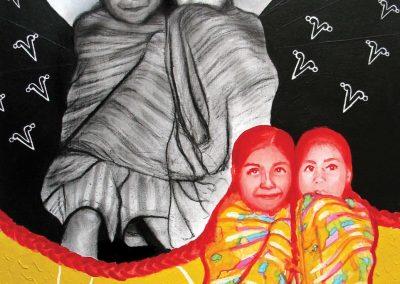 Cobijando esperanzas, carbón, acrílico y tinta china sobre papel, 27 x 37.5 cm, 2007