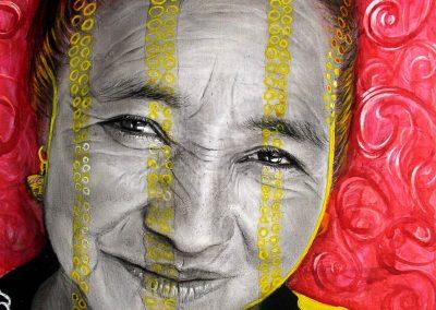Diosa del maíz, carbón, acrílico y tinta china sobre papel, 27 x 37 cm, 2007