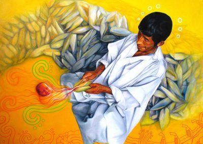 El maíz, nuestra carne (niño mazorca), óleo sobre tela, 120 x 100 cm, 2007