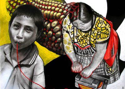 El sustento de las vidas; carbón, pastel, grafito y acrílico sobre papel, 27 x 37.5 cm, 2007
