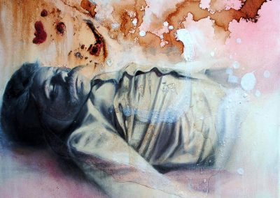 Espíritu viviente, óleo y café sobre tela, 60 x 48 cm, 2010