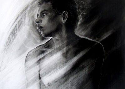 Juventud, carbón sobre madera, 50 x 50 cm, 2008