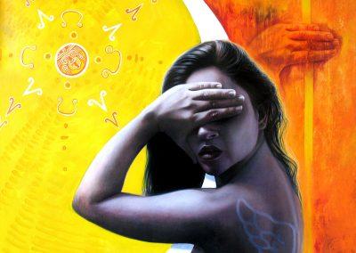 Negación, carbón y acrílico sobre tela, 120 x 100 cm, 2007