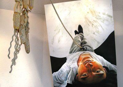 Sur, el lugar de los muertos, (instalación, pintura, dibujo), técnica mixta, módulo de 122 cm x 200 cm, 2007