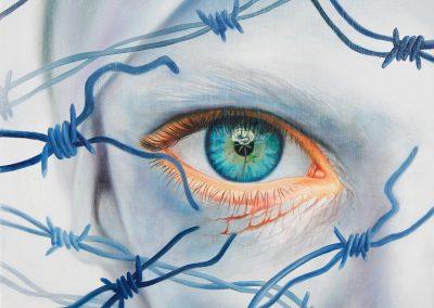 Te encontré, óleo sobre tela, 50 x 50 cm, 2012