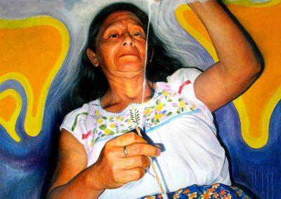 Tejiendo vidas (Doña Epifanía),óleo y acrílico sobre tela, 150 x 200 cm, 2007