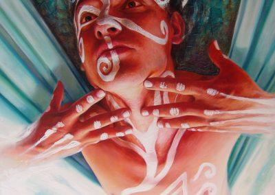 Volador del viento, óleo sobre tela, 120 x 100 cm, 2009
