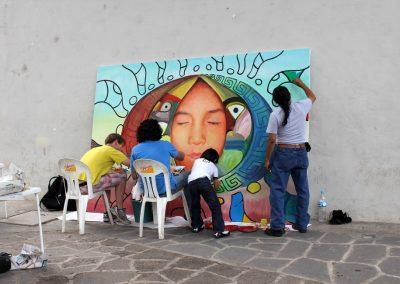 001 Nacimiento-vida-muerte, mural colectivo, acrílico sobre tela, 200 x 300 cm, México y Dinamarca