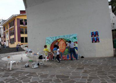 002 Nacimiento-vida-muerte, mural colectivo, acrílico sobre tela, 200 x 300 cm, México y Dinamarca