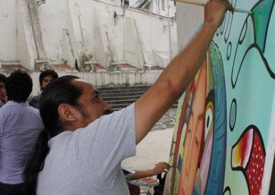 003 Nacimiento-vida-muerte, mural colectivo, acrílico sobre tela, 200 x 300 cm, México y Dinamarca