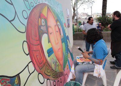 006 Nacimiento-vida-muerte, mural colectivo, acrílico sobre tela, 200 x 300 cm, México y Dinamarca