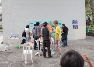 007 Nacimiento-vida-muerte, mural colectivo, acrílico sobre tela, 200 x 300 cm, México y Dinamarca