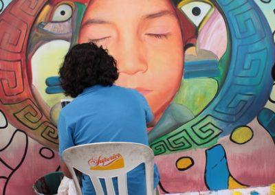 009 Nacimiento-vida-muerte, mural colectivo, acrílico sobre tela, 200 x 300 cm, México y Dinamarca