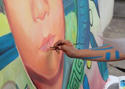 012 Nacimiento-vida-muerte, mural colectivo, acrílico sobre tela, 200 x 300 cm, México y Dinamarca