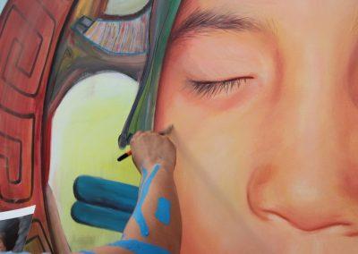 014 Nacimiento-vida-muerte, mural colectivo, acrílico sobre tela, 200 x 300 cm, México y Dinamarca