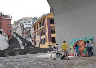 015 Nacimiento-vida-muerte, mural colectivo, acrílico sobre tela, 200 x 300 cm, México y Dinamarca
