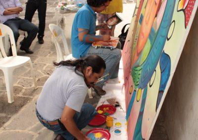 017 Nacimiento-vida-muerte, mural colectivo, acrílico sobre tela, 200 x 300 cm, México y Dinamarca