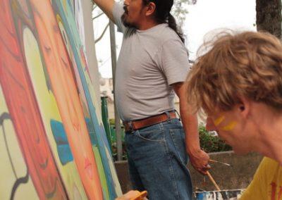 018 Nacimiento-vida-muerte, mural colectivo, acrílico sobre tela, 200 x 300 cm, México y Dinamarca