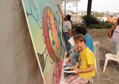 020 Nacimiento-vida-muerte, mural colectivo, acrílico sobre tela, 200 x 300 cm, México y Dinamarca