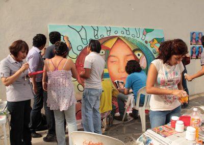 021 Nacimiento-vida-muerte, mural colectivo, acrílico sobre tela, 200 x 300 cm, México y Dinamarca