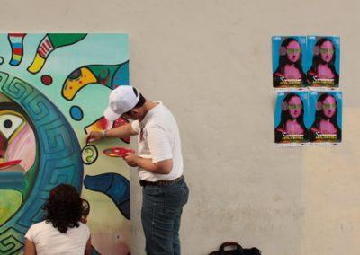 026 Nacimiento-vida-muerte, mural colectivo, acrílico sobre tela, 200 x 300 cm, México y Dinamarca