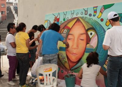 027 Nacimiento-vida-muerte, mural colectivo, acrílico sobre tela, 200 x 300 cm, México y Dinamarca