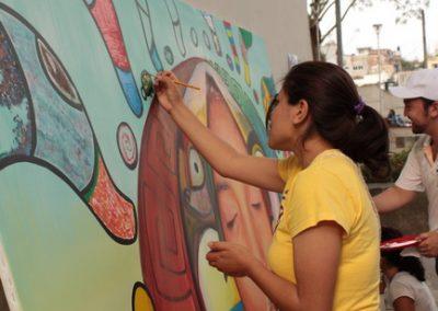 028 Nacimiento-vida-muerte, mural colectivo, acrílico sobre tela, 200 x 300 cm, México y Dinamarca