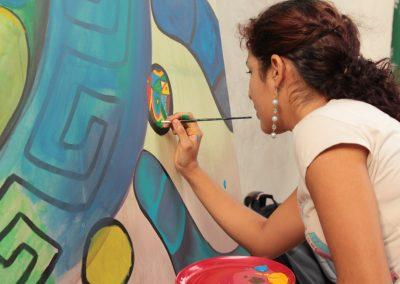 029 Nacimiento-vida-muerte, mural colectivo, acrílico sobre tela, 200 x 300 cm, México y Dinamarca
