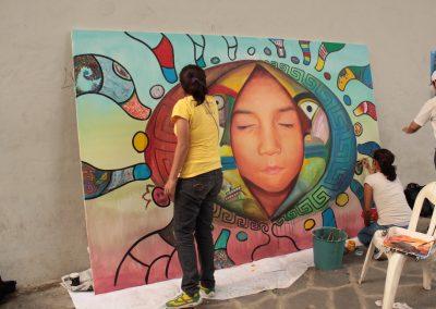 030 Nacimiento-vida-muerte, mural colectivo, acrílico sobre tela, 200 x 300 cm, México y Dinamarca