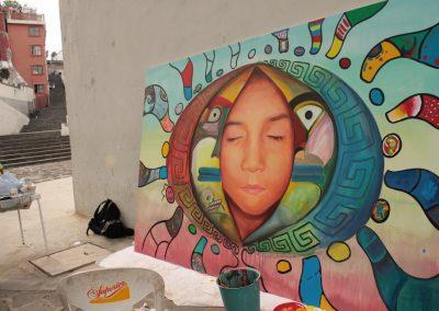 031 Nacimiento-vida-muerte, mural colectivo, acrílico sobre tela, 200 x 300 cm, México y Dinamarca