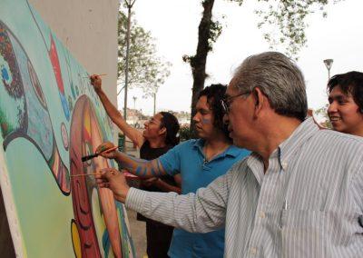 032 Nacimiento-vida-muerte, mural colectivo, acrílico sobre tela, 200 x 300 cm, México y Dinamarca