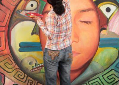 033 Nacimiento-vida-muerte, mural colectivo, acrílico sobre tela, 200 x 300 cm, México y Dinamarca