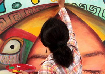 034 Nacimiento-vida-muerte, mural colectivo, acrílico sobre tela, 200 x 300 cm, México y Dinamarca