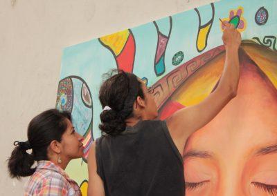 035 Nacimiento-vida-muerte, mural colectivo, acrílico sobre tela, 200 x 300 cm, México y Dinamarca