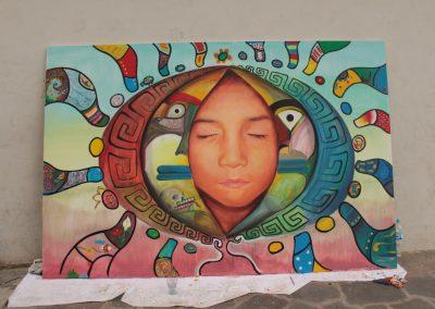 037 Nacimiento-vida-muerte, mural colectivo, acrílico sobre tela, 200 x 300 cm, México y Dinamarca