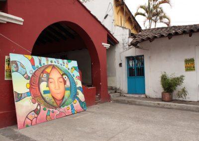 038 Nacimiento-vida-muerte, mural colectivo, acrílico sobre tela, 200 x 300 cm, México y Dinamarca