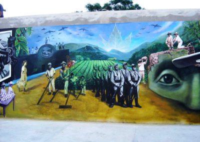 2 Historia de Plan de las Hayas, 9 x 3 m, acrilico sobre cemento, Plan de las Hayas, Veracruz, 2006