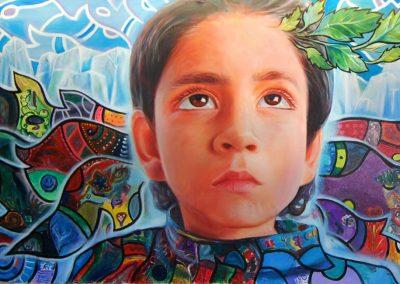 Esperanza climática, mural colectivo, acrílico sobre tela, 5 x 2 m, COP 16 Cancún, Quintana Roo