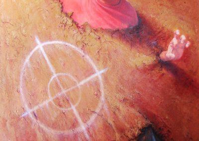 Atrapado en el desierto, óleo y arena sobre tabla, 122 x 200 cm, 2005
