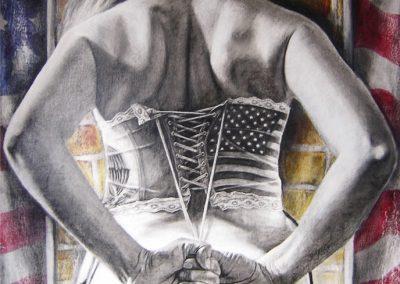 Banderas vemos, identidades no sabemos; carbón sobre fondos de acrílico con soporte de madera, 80 x 122 cm, 2006