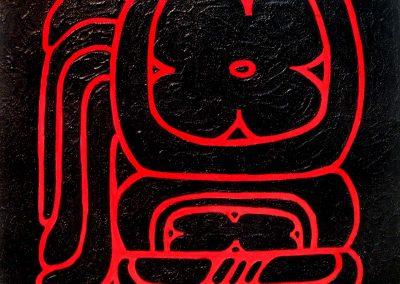 Chaac xib chaac (este-rojo), acrílico sobre madera, 50 x 50 cm, 2007