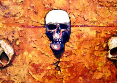 Cráneo de oro; óleo, plastilina epóxica, hoja de oro y arena, 90 x 37 cm, 2005