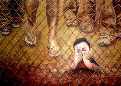El olvidado; óleo, textura y malla ciclónica sobre madera, 127 x 94 cm, 2005