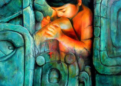 Emergiendo al mestizaje, óleo sobre tela, 100 x 130 cm, 2007
