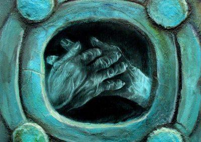 Fuego-corazón, técnica mixta, 50 x 50 cm, 2007