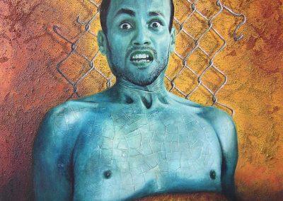 Identidad craquelada, óleo y textura sobre madera, 40 x 50 cm, 2005