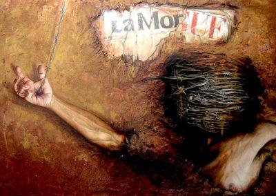 La morgue del desierto, óleo y textura sobre madera, 122 x 85 cm, 2005