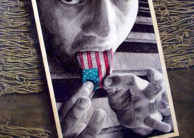 Mira mi lengua, carbón y acrílico sobre madera, 88 x 122 cm, 2006